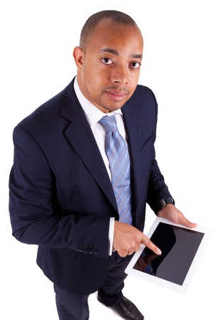 African American business man using a tactile tablet, isolated on white background - African people photo