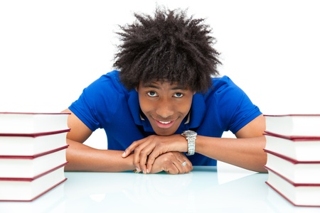 student reading: Young african american student reading books, over white background - African people
