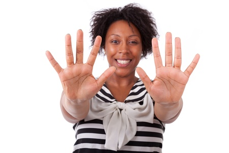 five fingers: Young black woman showing her  hands palm, isolated on white background - African people