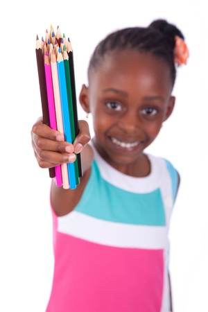 Cute black african american little girl holding color pencil, isolated on white background - African people - Children Stock Photo - 19665311
