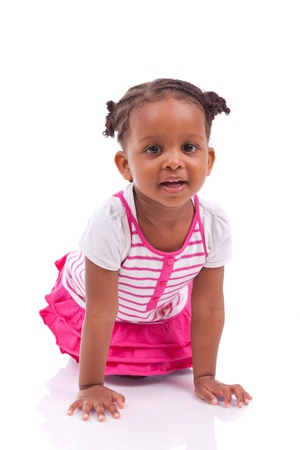 afro caribbean: Cute little african american girl - Black children , isolated on white background Stock Photo