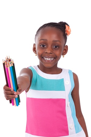 Cute black african american little girl holding color pencil, isolated on white background - African people - Children Stock Photo - 19797897