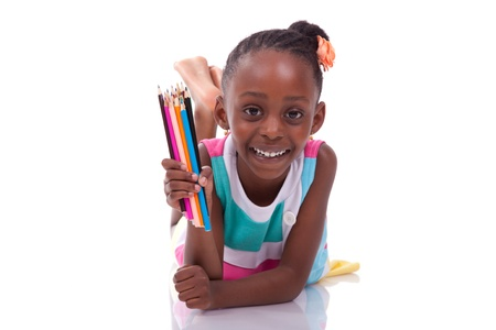 Cute black african american little girl holding color pencil, isolated on white background - African people - Children photo