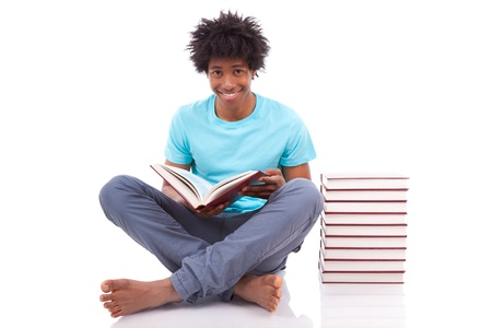 south american: Young black teenage student men reading a books, isolated on white background - African people Stock Photo