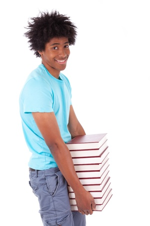 afro caribbean: Young black teenage student men holding books, isolated on white background - African people Stock Photo