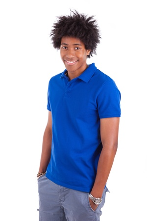 afro caribbean: Portrait of a young african american man, isolated on white background - Black people