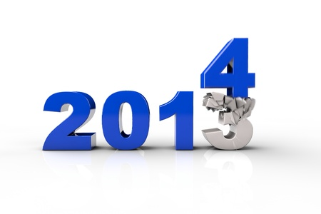 replacing: New Year 2014 and Old 2013,Render 3D. Over white background