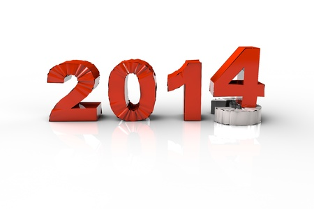 New Year 2014 and Old 2013,Render 3D. Over white background photo
