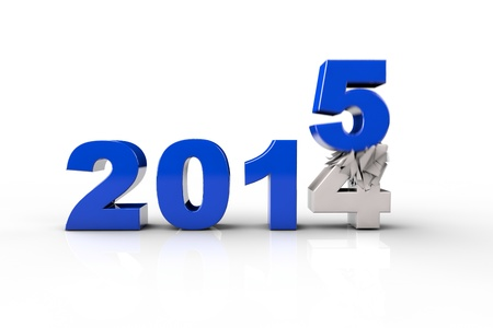replacing: New Year 2015 and Old 2014,Render 3D. Over white background