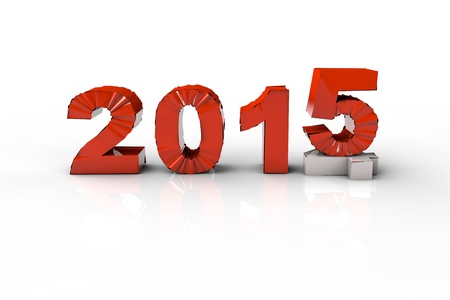 replacing: New Year 2014 and Old 2015,Render 3D. Over white background