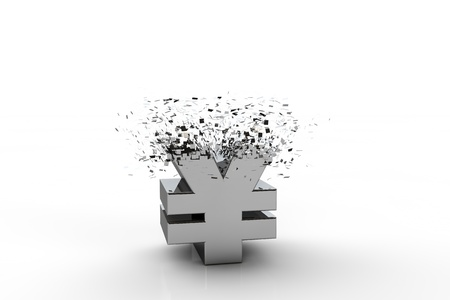3D yen currency symbol exploding,  over white background photo