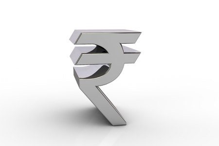 indian currency: 3D rupee currency symbol,  over white background