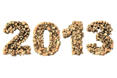 3d 2013 date build with wood particles, over white background photo