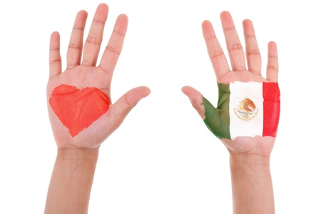 Hands with a painted heart and mexican flag, i love mexico concept, isolated on white background photo
