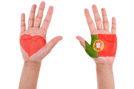 Hands with a painted heart and portuguese flag, i love portugal concept, isolated on white background photo