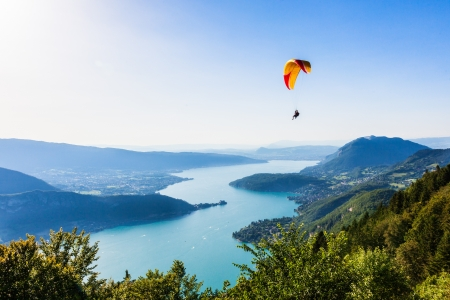 paragliding: View of the Annecy lake from  Col du Forclaz