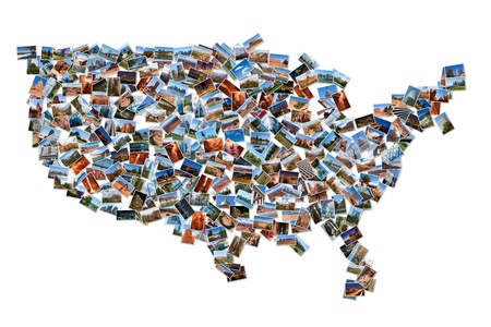 USA map shape drawn with pictures, over white background photo