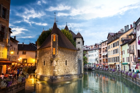 villages: Palais de lisle by night in Annecy - France Stock Photo
