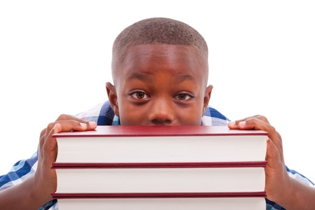African American school boy with stack a book, isolated on white background - Black people photo