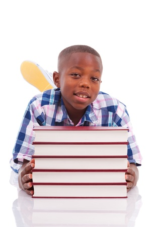 boy book: African American school boy with stack a book, isolated on white background - Black people Stock Photo