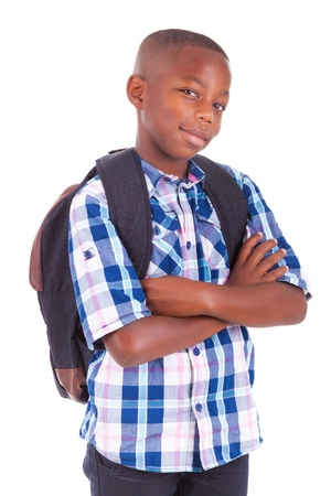 schoolboys: African American school boy, isolated on white background - Black people Stock Photo