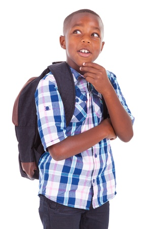 African American school boy looking up, isolated on white background - Black people photo