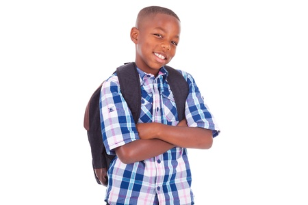 latin child: African American school boy, isolated on white background - Black people Stock Photo