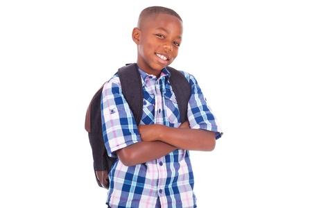 ni�os latinos: Africano ni�o de la escuela americana, aislados en fondo blanco - negros