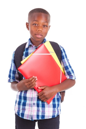 African American school boy, holding folders, isolated on white background - Black people photo