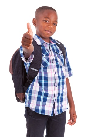 brazilian caribbean: African American school boy making thumbs up, isolated on white background - Black people