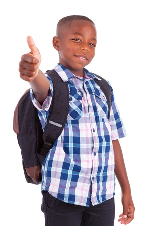 american children: African American school boy making thumbs up, isolated on white background - Black people