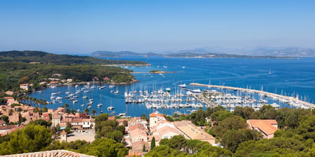 View of Porquerolles island marina from  Fort Sainte Agathe  in France photo