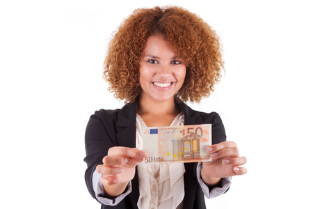 Young african american business woman holding a euro bill, isolated on white background - African people photo
