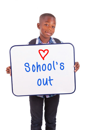 African American school boy holding a blank board, isolated on white background - Black people Stock Photo - 22403982