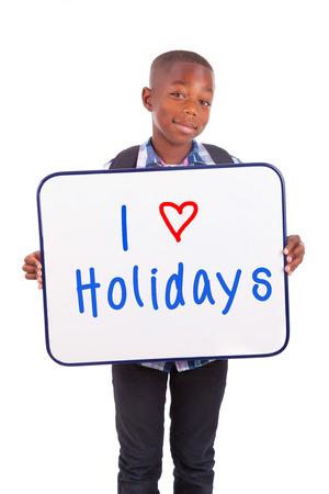 garcon africain: Afrique écolier américain tenant un tableau blanc, isolé sur fond blanc - les Noirs Banque d'images