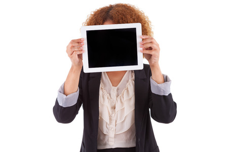 African American business woman holding a tactile tablet, isolated on white background - Black people photo