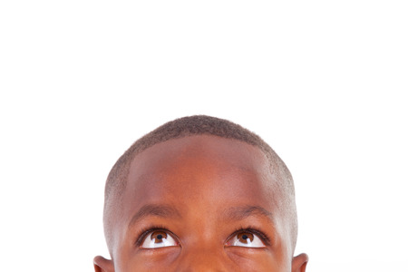 look latino: African American boy looking, isolated - Black people