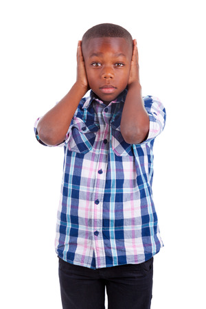 fear face: African American boy hiding ears, isolated  - Black people