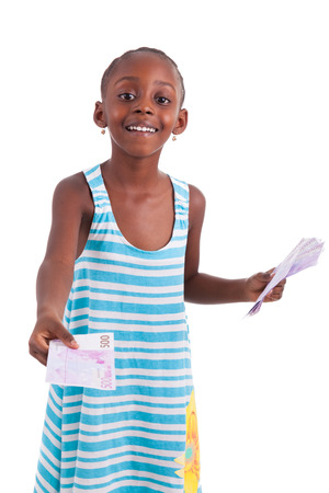 Little african girl holding 500 hundred euro bills, isolated on white background - Black people photo