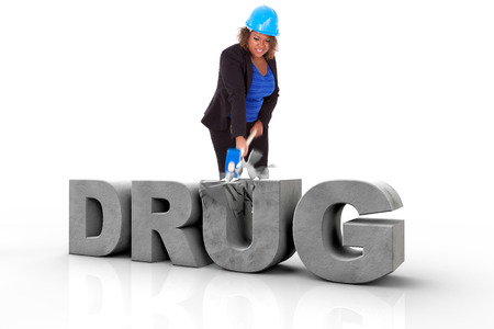 drug addiction: African American woman wearing a protection helmet braking a 3d drug text, isolated on white background  - Black people