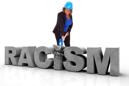 human rights: African American woman wearing a protection helmet braking a 3d text, isolated on white background  - Black people