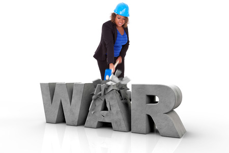 no war: African American woman wearing a protection helmet braking a 3d war text, isolated on white background  - Black people