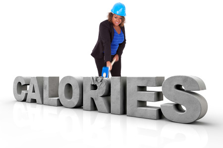 braking: African American woman wearing a protection helmet braking a 3d calories text, isolated on white background  - Black people Stock Photo