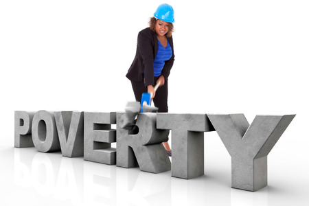 braking: African American woman wearing a protection helmet braking a 3d poverty text, isolated on white background  - Black people Stock Photo