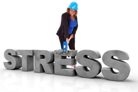 stressed business woman: African American woman wearing a protection helmet braking a 3d stress text, isolated on white background  - Black people