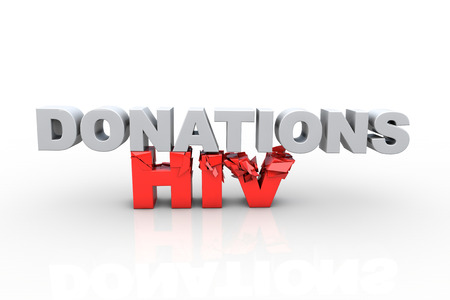 3d donations text breaking HIV text, over white background - Fight HIV concept photo