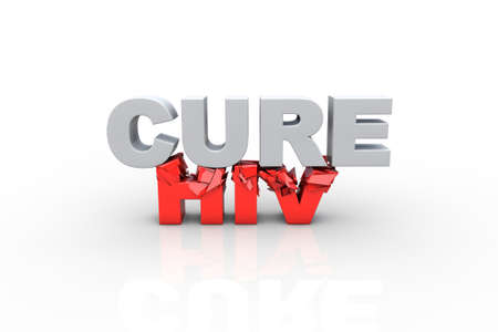 3d cure text breaking HIV text, over white background - Fight HIV concept photo