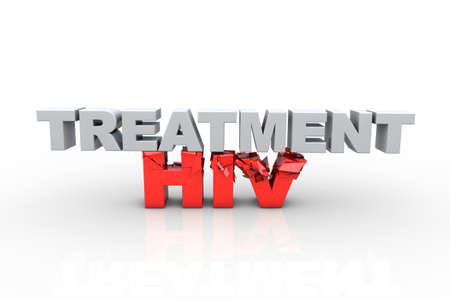 aids virus: 3d treatment text breaking HIV text, over white background - Fight HIV concept