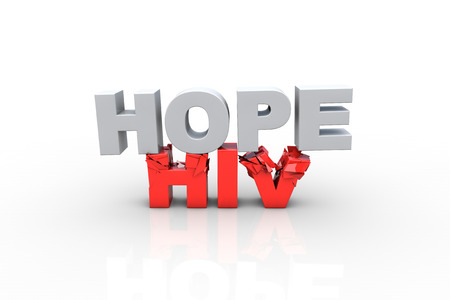 hiv ribbon: 3d hope text breaking HIV text, over white background - Fight HIV concept