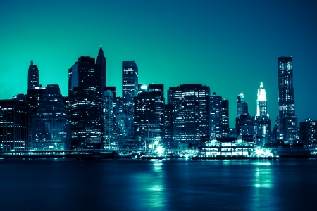 New York - Panoramic view of Manhattan Skyline by night 写真素材